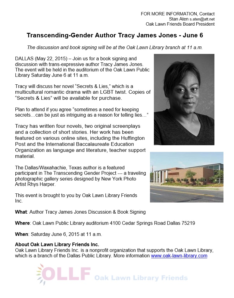 Press Release: Book Signing Event – Tracy James Jones ...